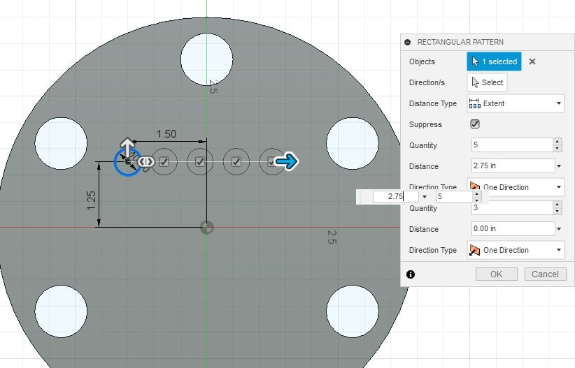 Fusion 360 Tutorial-Circular Pattern-Rectangular Pattern 16